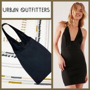 NWT! [Urban Outfitters] Black Plunge Halter Dress